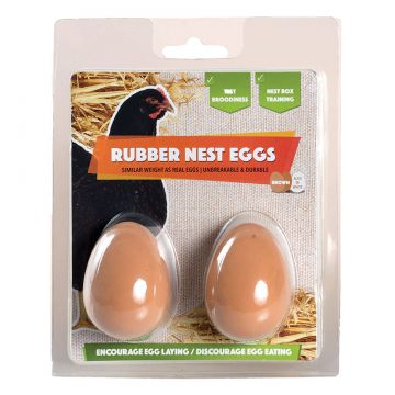 Brown Rubber Nest Eggs for Laying Hens - 2 PK