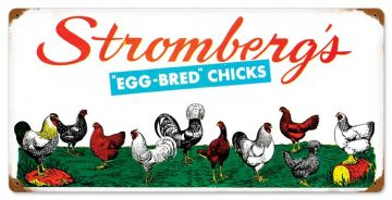 Assorted Chickens Tin Sign - Stromberg Exclusive