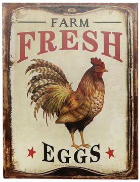 Rustic Farm Fresh Eggs Sign  - Tin