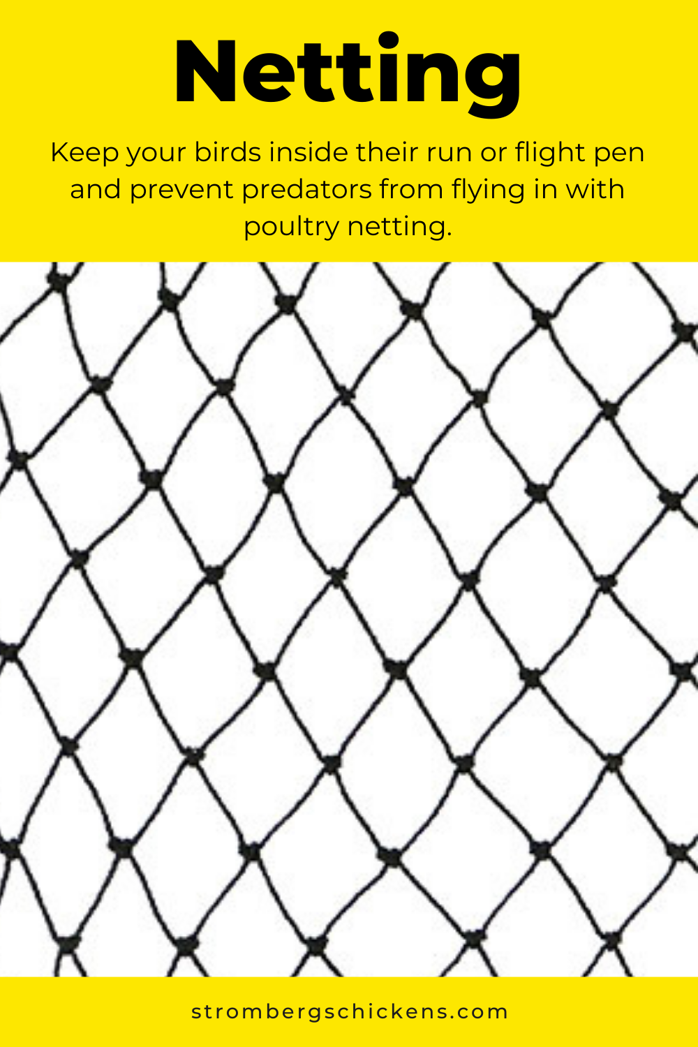 Netting is a great way to keep poultry in and predators out of your chicken run. Sold at Stromberg's.